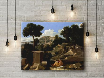 Nicolas Poussin: Landscape with St James in Patmos. Fine Art Canvas.
